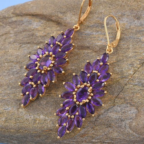 Amethyst (Ovl) Lever Back Earrings in 14K Gold Overlay Sterling Silver 12.000 Ct.
