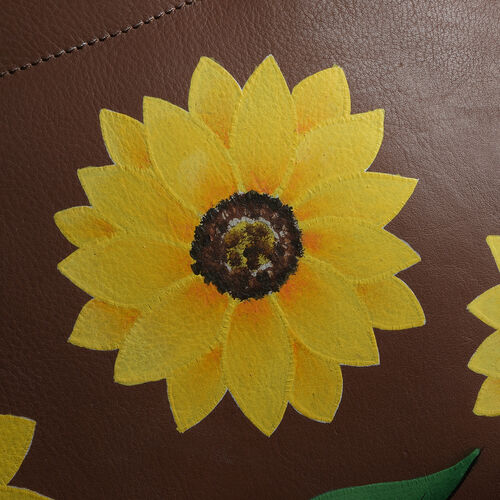 Top Grain Genuine Leather Hand Painted Sunflower Design Shoulder Bag (Size 36X26X13 Cm)