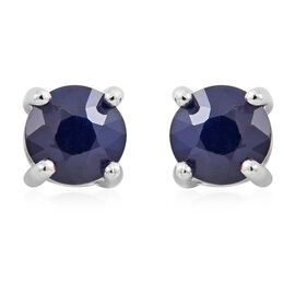 1.35 Ct Kanchanaburi Blue Sapphire Stud Earrings in Rhodium Plated Silver (with Push Back)