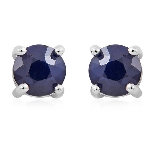 Kanchanaburi Blue Sapphire (Rnd) Stud Earrings (with Push Back) in Rhodium Plated Sterling Silver 1.350 Ct.
