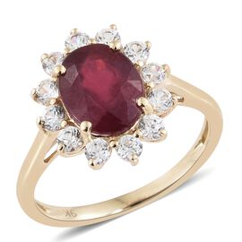 DOD - Designer Inspired 9K Yellow Gold AAA African Ruby (Ovl 9x7mm), Natural Cambodian White Zircon Floral Ring 3.500 Ct.