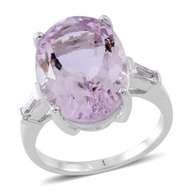 Designer Inspired- AAA Rose De France Amethyst (Ovl), Natural White Cambodian Zircon Ring in Rhodium Plated Sterling Silver 11.750 Ct.