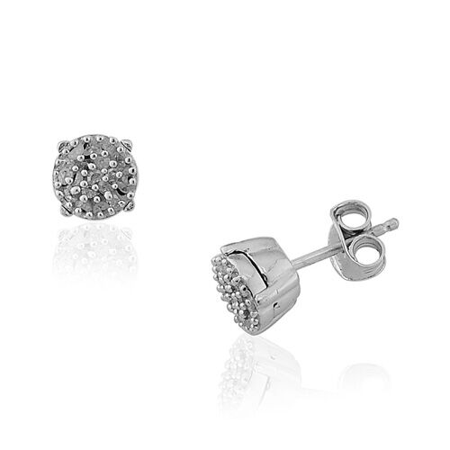Diamond Platinum Overlay Sterling Silver Earring 0.250 Ct.