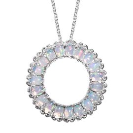 Ethiopian Welo Opal (Ovl) Circle of Life Pendant with Chain in Platinum Overlay Sterling Silver 3.000 Ct. Silver wt 6.00 Gms.