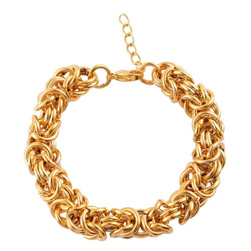 ION Plated Yellow Gold Stainless Steel Byzantine Bracelet (Size 8 with Extender)