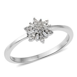 Diamond (Rnd) Floral Ring in Platinum Overlay Sterling Silver 0.150 Ct.