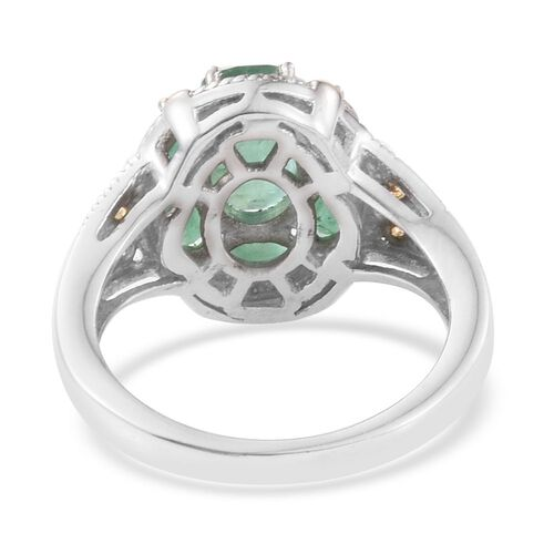 Kagem Zambian Emerald (Ovl 1.00 Ct) 7 Stone Floral Ring in Platinum and Yellow Gold Overlay Sterling Silver 2.250 Ct.