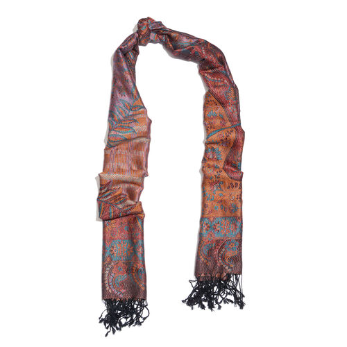 SILK MARK- 100% Superfine Silk Red, Orange and Multi Colour Jacquard Jamawar Scarf with Fringes (Size 180x70 Cm)