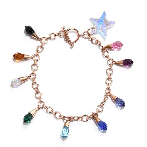 Super Auction - J Francis Crystal From Swarovski - Rainbow Colour Crystal Charm Bracelet (Size 7.5) in Rose Gold Overlay Sterling Silver