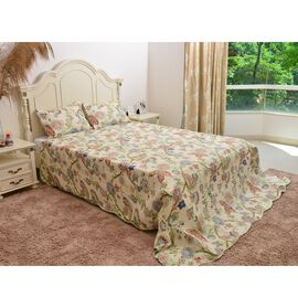 Cream, Green and Multi Colour Butterfly and Floral Pattern Quilt (Size 260x240 Cm) with 2 Quilted Pillow Shams (Size 70x50 Cm)