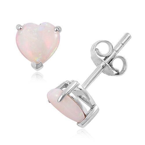 9K White Gold 1.25 Ct AA Australian White Opal Heart Stud Earrings (with Push Back)