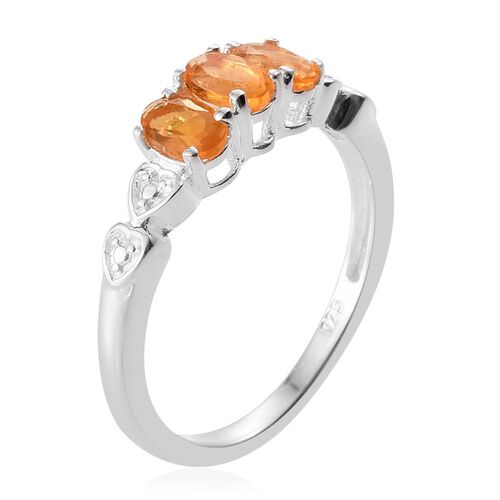 Jalisco Fire Opal (Ovl) Trilogy Ring in Sterling Silver