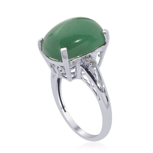 Emerald Quartz (Cush 11.00 Ct), White Topaz Ring in Platinum Overlay Sterling Silver 11.050 Ct.
