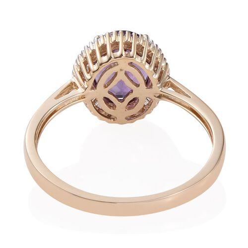 9K Y Gold Zambian Amethyst (Ovl 2.75 Ct), Diamond Ring 3.000 Ct.