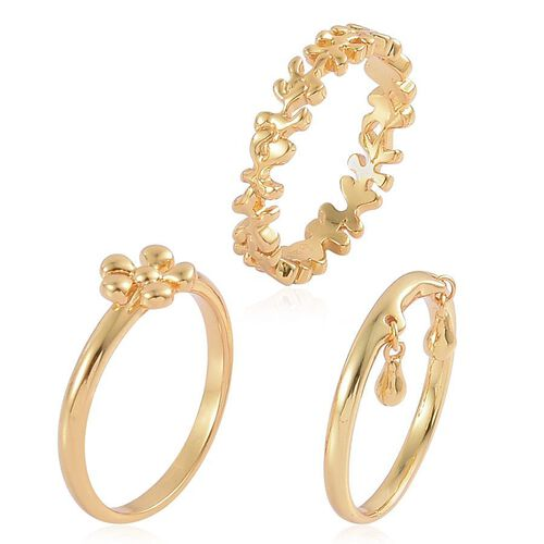 Set of 3 - LucyQ Splat and Double Drip Ring in Yellow Gold Overlay Sterling Silver