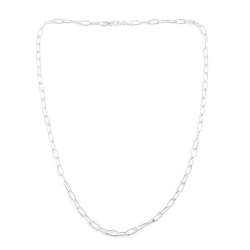 Sterling Silver Diamond Cut Oval Link Necklace (Size 24), Silver wt. 16.00 Gms.
