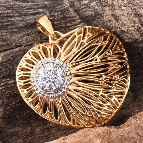 J Francis - 14K Gold Overlay Sterling Silver Heart Pendant Made wth SWAROVSKI ZIRCONIA, Silver wt 10.96 Gms.