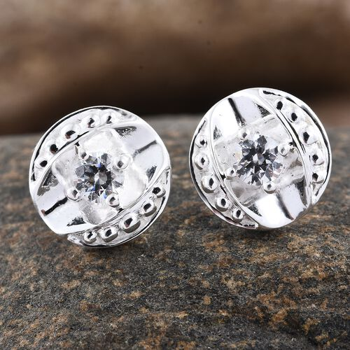 J Francis - Sterling Silver (Rnd) Stud Earrings (with Push Back) Made with SWAROVSKI ZIRCONIA