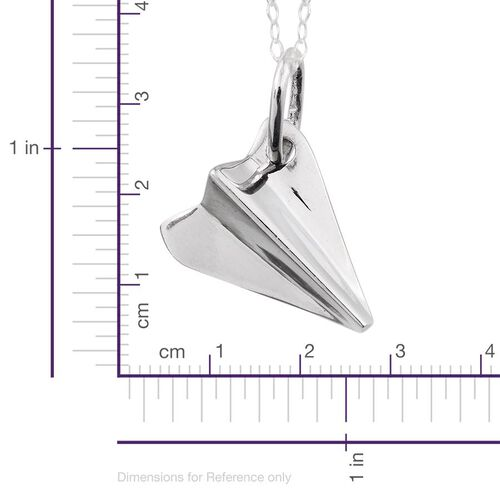 Platinum Overlay Sterling Silver Origami Airplane Pendant With Chain, Silver wt 3.65 Gms.