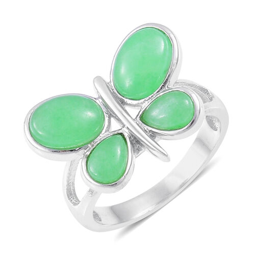 Green Jade Butterfly Ring in Rhodium Plated Sterling Silver 7.000 Ct.