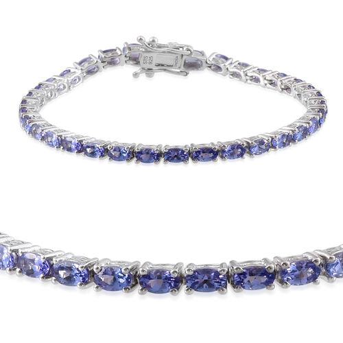 Tanzanite (Ovl) Tennis Bracelet (Size 7.25) in Rhodium Plated Sterling Silver 7.038 Ct. Silver wt 9.00 Gms.