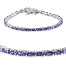 Tanzanite (Ovl) Bracelet (Size 7.50) in Rhodium Plated Sterling Silver 7.038 Ct. Silver wt 9.90 Gms.
