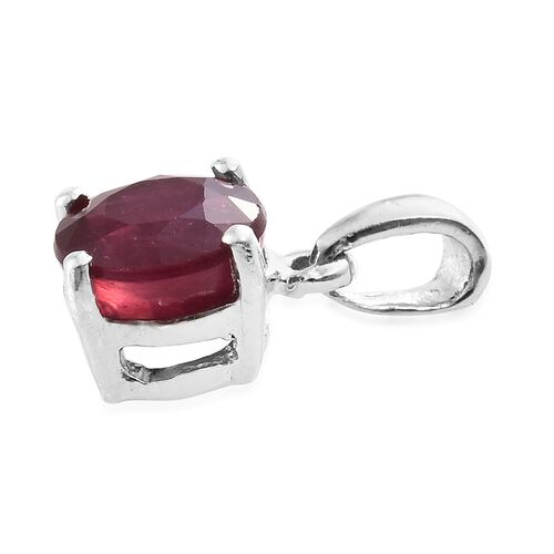 African Ruby 1.25 ct. Round Silver Solitaire Pendant in Platinum Overlay