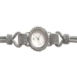 Bali Collection- Swiss Movement Designer Inspired Hand Made Sterling Silver White Dial Watch (Size 7.5) with Sapphire scratch resistant glass Silver wt. 25.00 Gms.