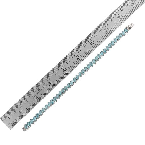 AA Paraibe Apatite (Ovl) Bracelet in Platinum Overlay Sterling Silver (Size 7) 17.000 Ct.