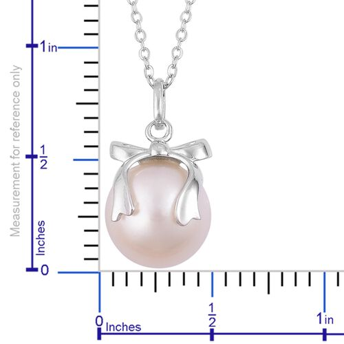 South Sea White Pearl (Rnd 11-12mm) Bowknot Pendant with Chain in Rhodium Plated Sterling Silver