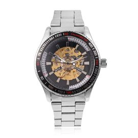 GENOA Automatic Machanical Movement Black Dial Water Resistant Watch in Silver Tone with Stainless Steel Back