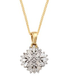 Firecracker Diamond (Bgt and Rnd) Pendant with Chain in 14K Gold Overlay Sterling Silver 0.250 Ct.