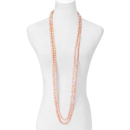 Limited Available -AAA Double Shine High Lustre Fresh Water Peach Pearl Necklace (Size 100)