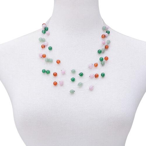 Multi Gem Stones Necklace (Size 18) in Silver Tone