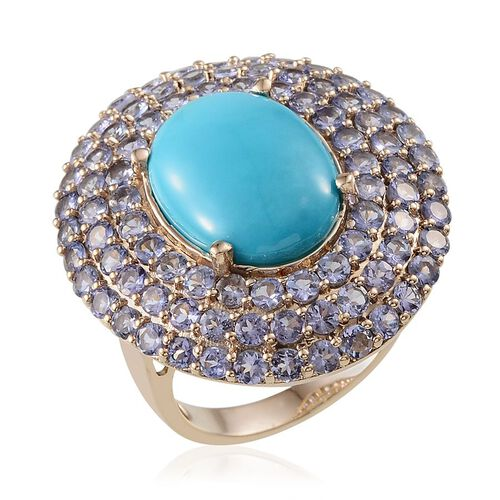 9K Y Gold Arizona Sleeping Beauty Turquoise (Ovl 7.75 Ct), Tanzanite Cluster Ring 14.150 Ct.