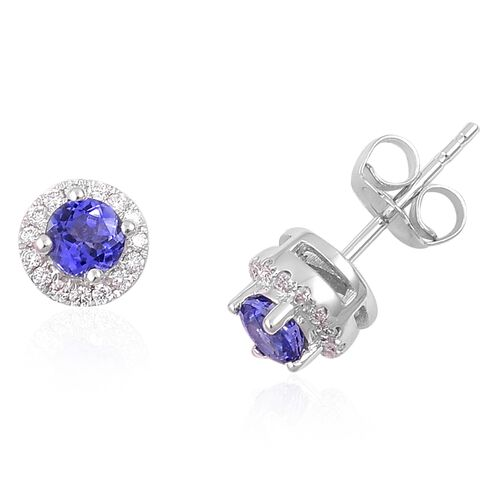 ILIANA 18K White Gold 0.81 Ct AAA Tanzanite, Diamond SI G-H Halo Stud Earrings (with Push Back)