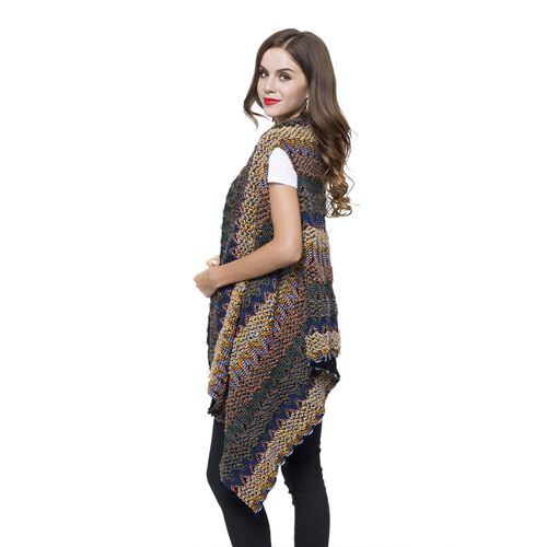 New Arrival - Italian Designer Inspired Purple, Yellow and Multi Colour Zigzag Pattern Longline Poncho (Free Size)