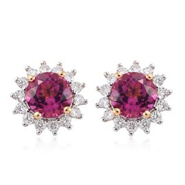 ILIANA 18K Y Gold AAA Rare Size Ouro Fino Rubelite (Rnd 1.75 Cts), Diamond (SI/G-H) (0.50 Cts) Earrings with Screw Back 2.250 Ct.