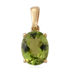 Hebei Peridot 2.75 Ct Silver Solitaire Pendant in Gold Overlay