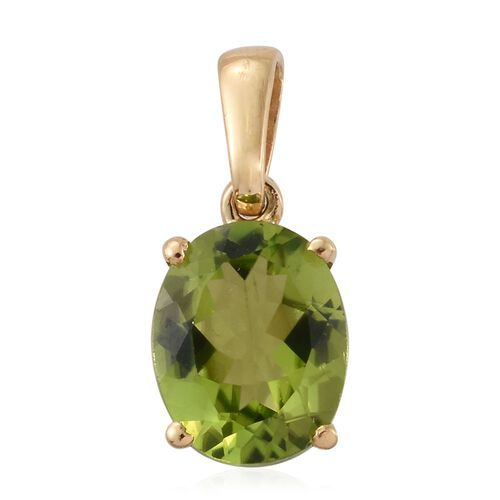 Hebei Peridot (Ovl) Solitaire Pendant in 14K Gold Overlay Sterling Silver 2.750 Ct.