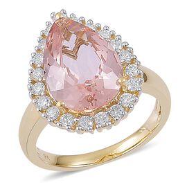 9K Yellow Gold 5.16 Ct. AA Marropino Morganite Ring with Diamond (I1/G-H)