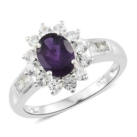 Amethyst (Ovl 1.00 Ct), Natural Cambodian Zircon Ring in Sterling Silver 2.000 Ct.