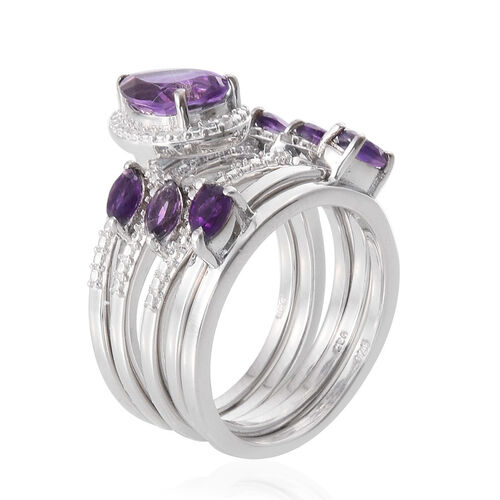 AA Lusaka Amethyst (Pear 1.75 Ct), Diamond 5 Ring Set in Platinum Overlay Sterling Silver 2.800 Ct.