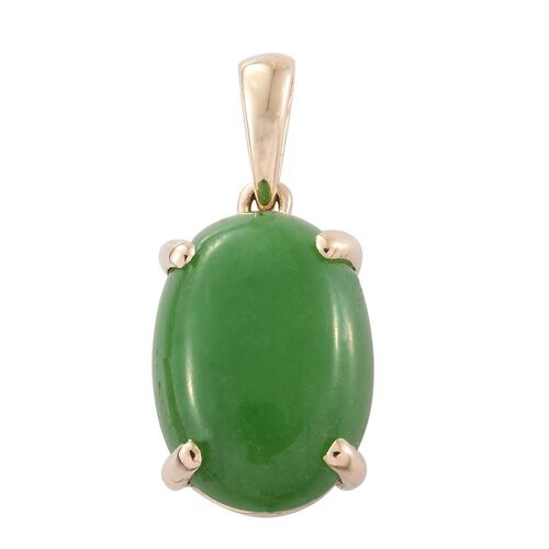 9K Yellow Gold Green Jade (Ovl) Solitaire Pendant 7.000 Ct.