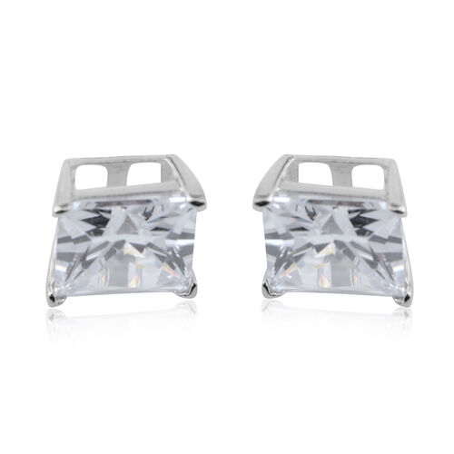 Brilliant Cut ELANZA AAA Simulated Diamond (Sqr) Stud Earrings (with Push Back) in Sterling Silver. Silver wt. 3.00 Gms.