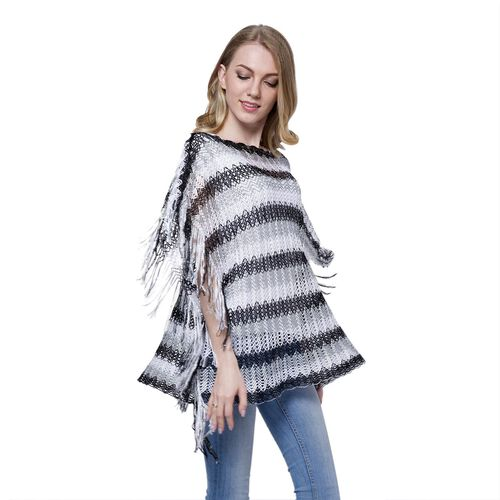 Black, Grey and White Colour Stripe Pattern Poncho (Size 85x55 Cm) and Black Colour Vest (Size 60x55 Cm)