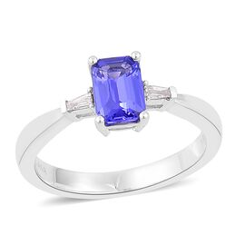 ILIANA 18K White Gold 1.10 Ct AAA Tanzanite Ring with Diamond (SI/G-H)