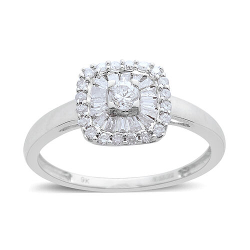 9K White Gold 0.50 Carat Diamond Cluster Ring SGL Certified I3/G-H.