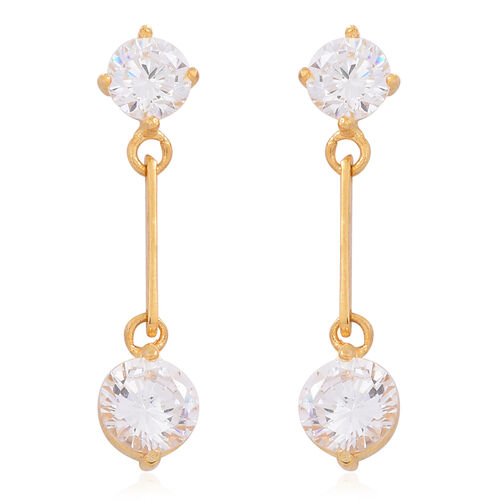 Super Auction-ELANZA AAA Simulated White Diamond (Rnd) Earrings (with Push Back) in 14K Gold Overlay Sterling Silver
