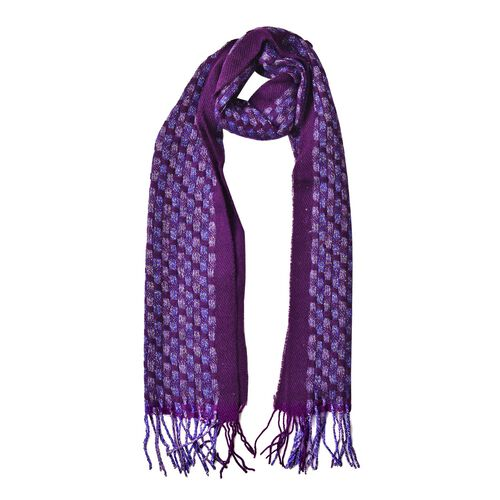 Designer Inspired-Woolen Purple, Blue and Multi Colour Checker Pattern Scarf with Tassels (Size 190X30 Cm)